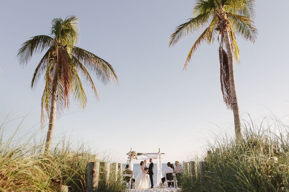 wide shot of key west smathers beach wedding ceremony