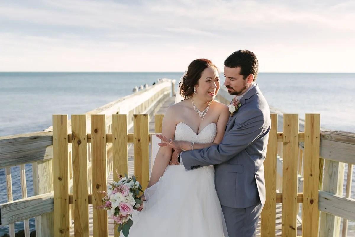 wedding photo with atlantic ocean in key west florida