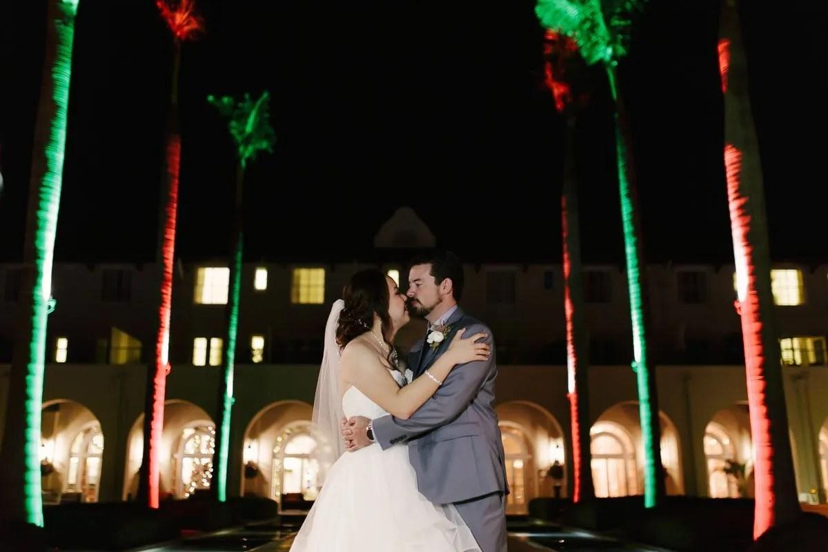 bride and groom at casa marina at night