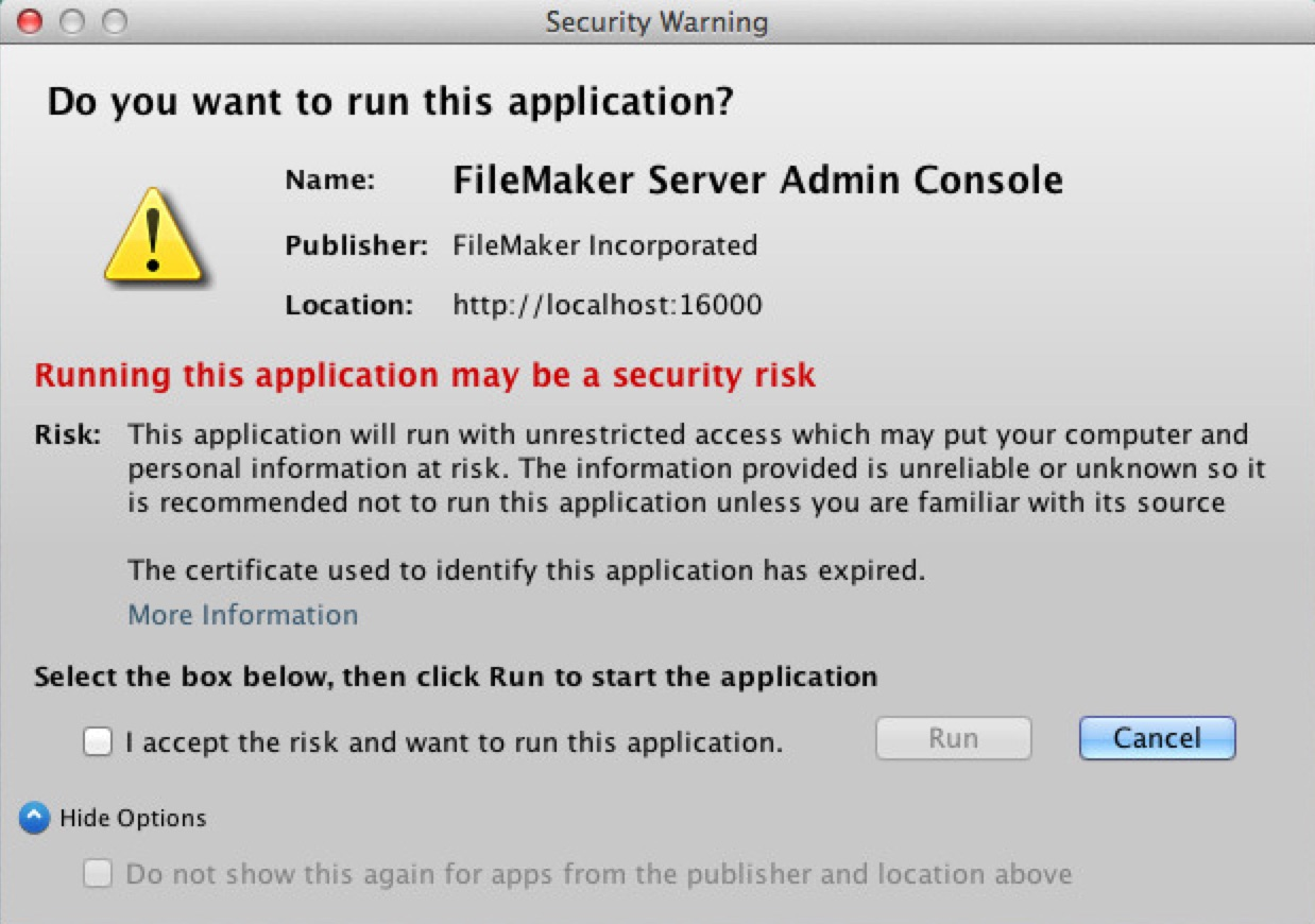 Application Blocked By Security Settings Error When