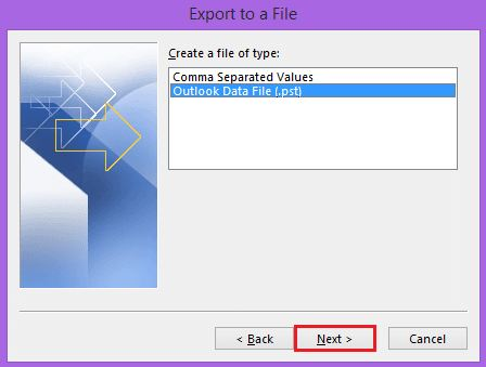 export to pst