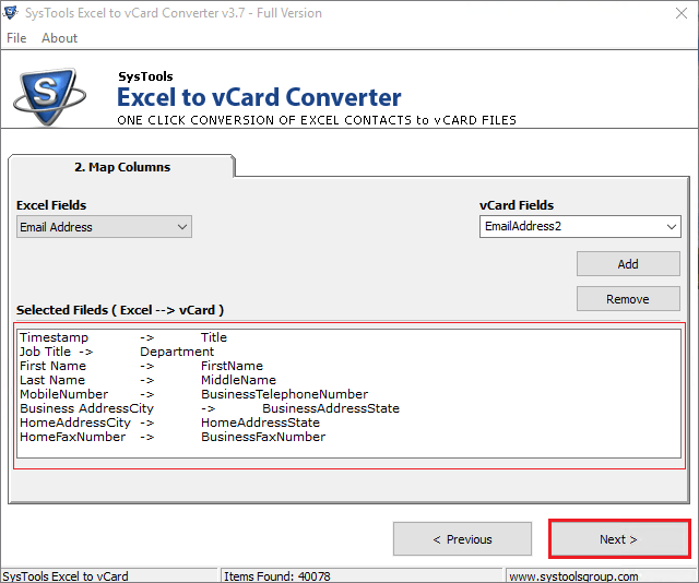 systools excel to vcard free download