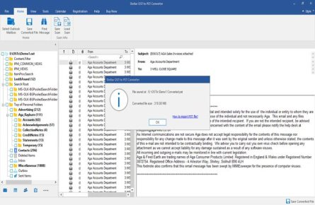 outlook ost to pst conversion completed