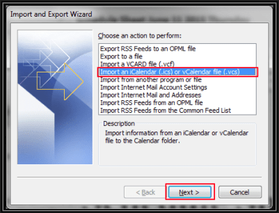 calendar export as ics to outlook