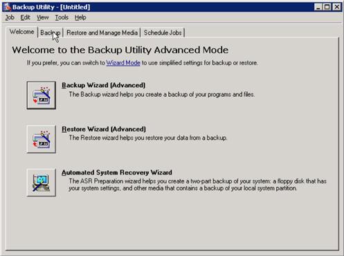 exchange server ntbackup