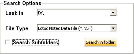 find corrupt nsf file to repair in stellar lotus notes