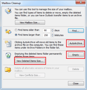 cleanup mailbox in outlook to recuce size