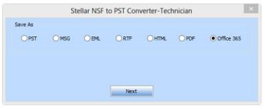 save nsf to office 365