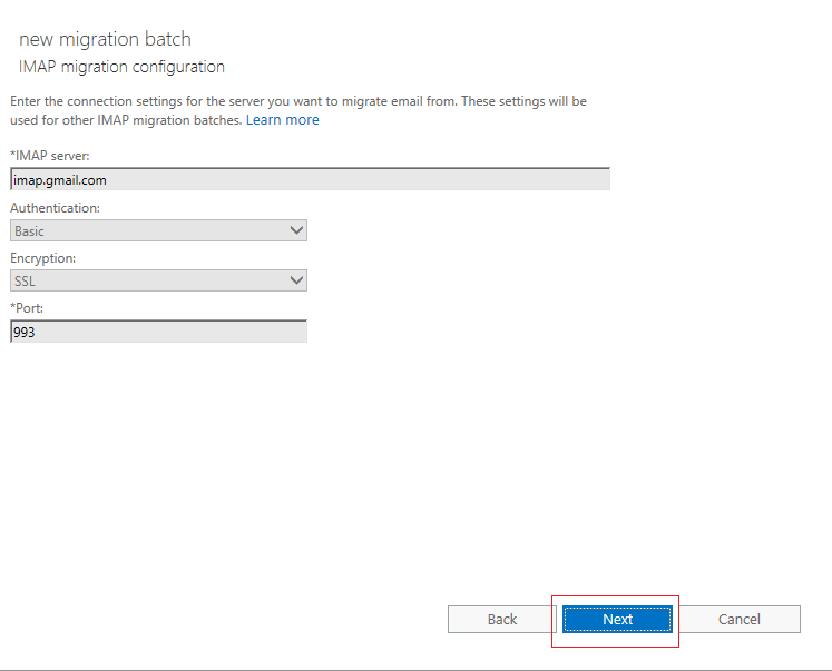 gmail server for imap to office 365
