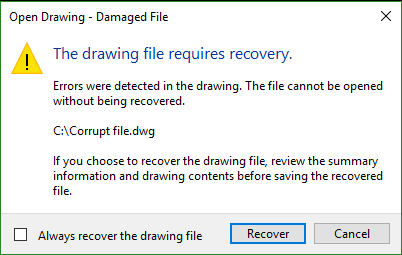 recover damaged dwg file