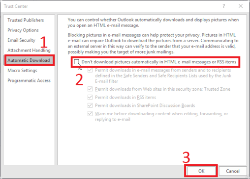 email images not showing in outlook