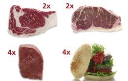 Wagyu Kobe Style Probierpaket - je 2 x ca. 250 g Ribeyes, Roastbeef; 4 x ca. 200 g Sirloin Medaillons u. Steakhouse Burger 4 * ca. 165 g + handmade Bread - 1