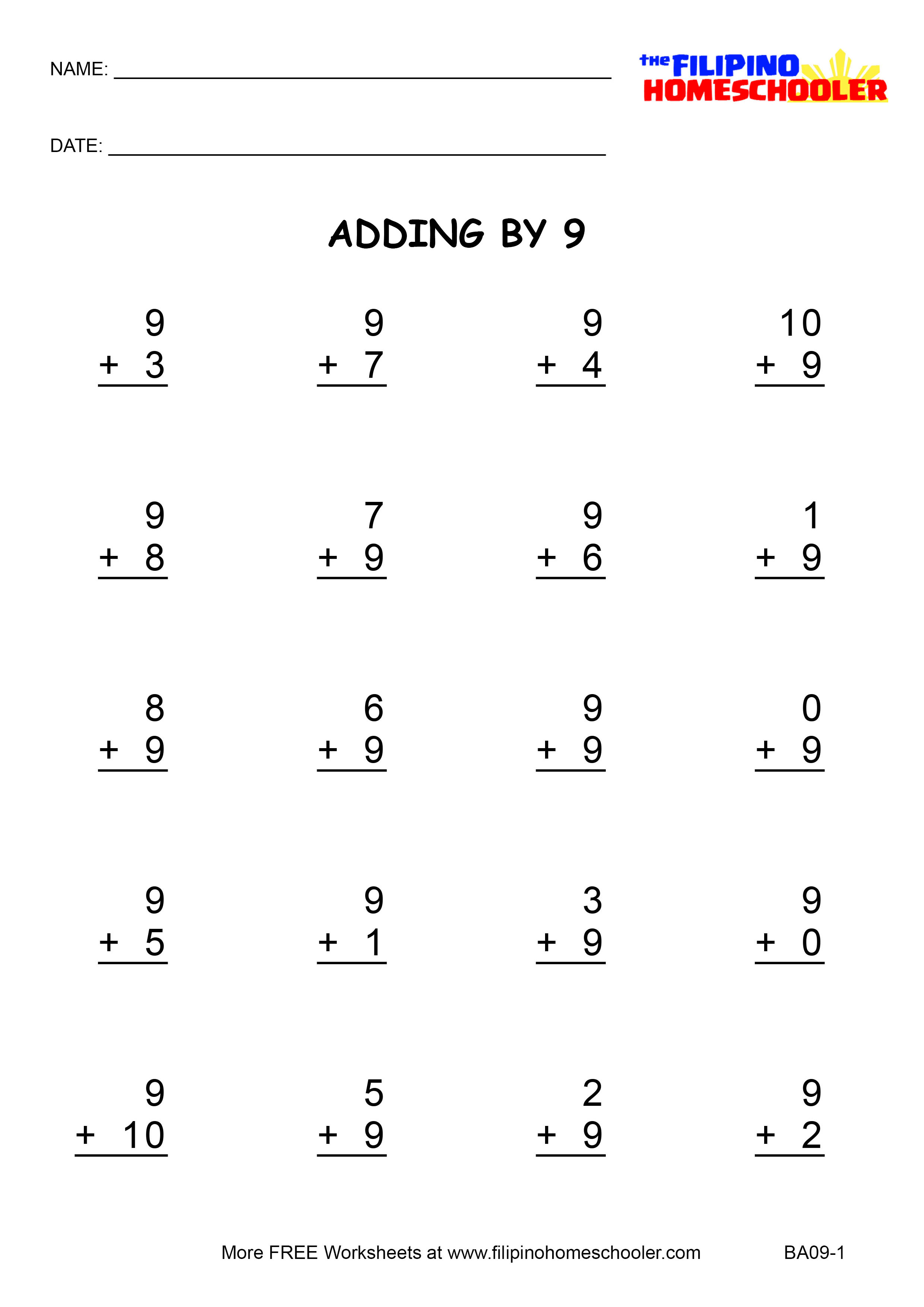 Adding By 9 Worksheets And Teaching Strategies