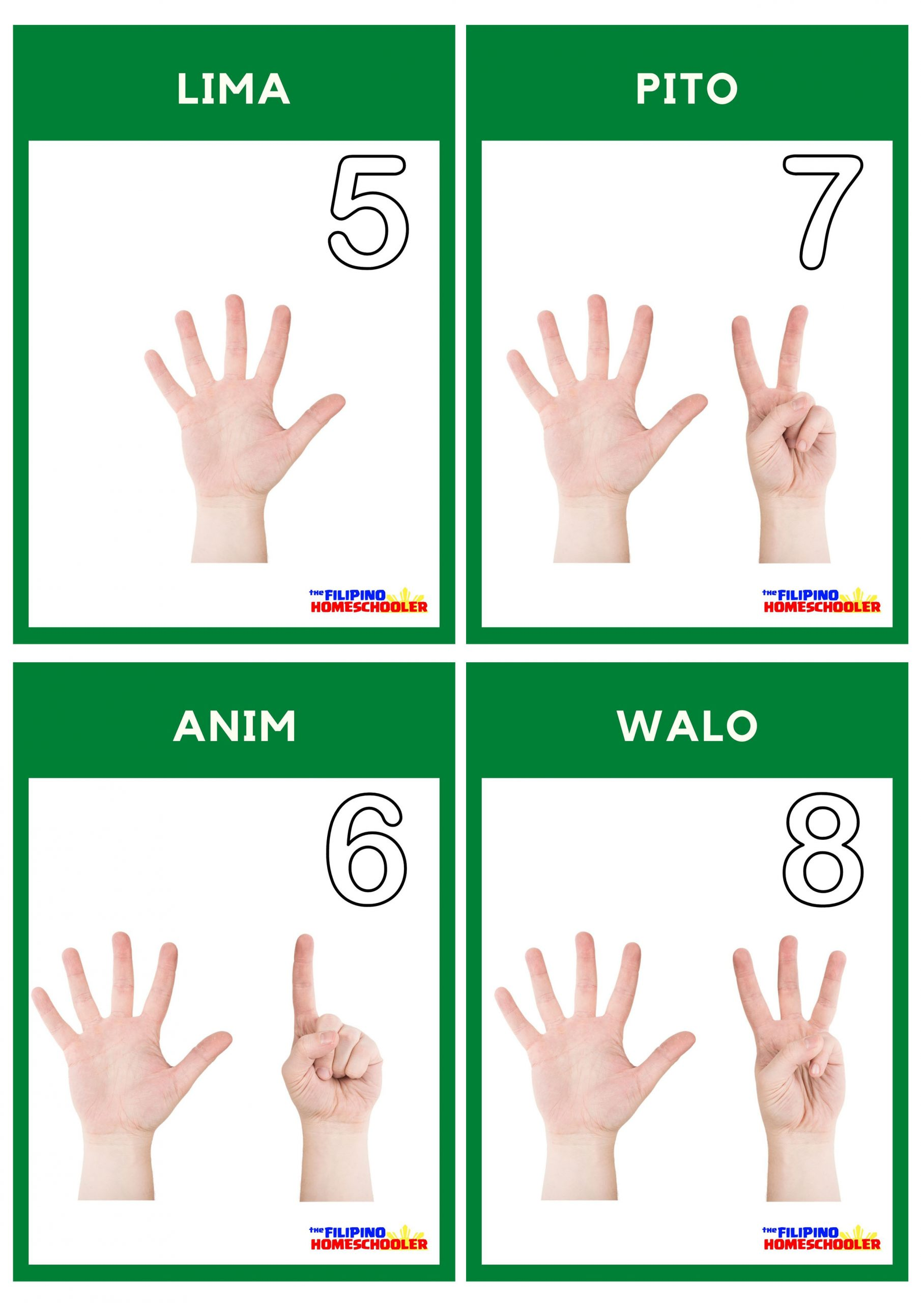 Free Filipino Counting Flashcards