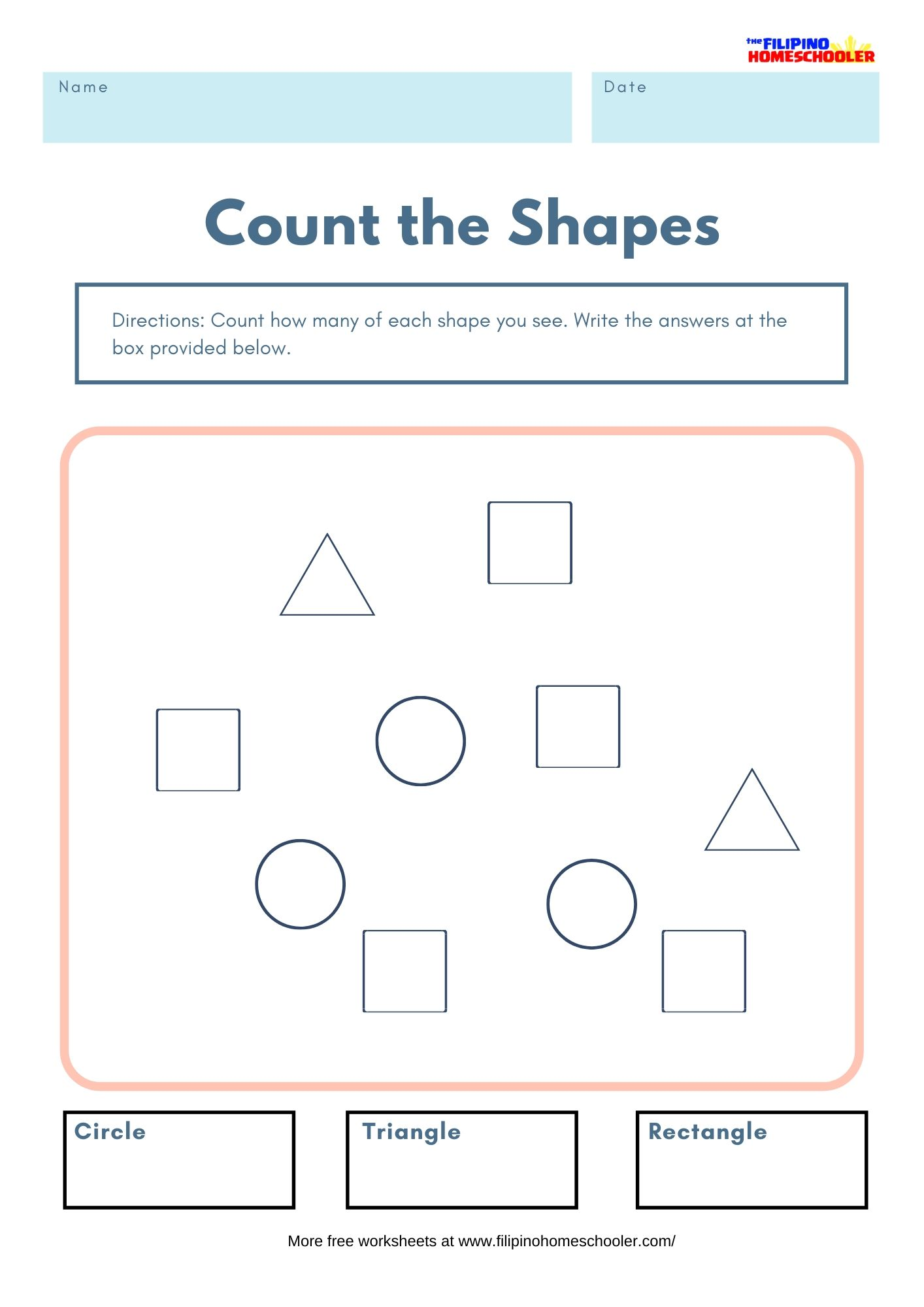Count The Shapes Math Worksheets
