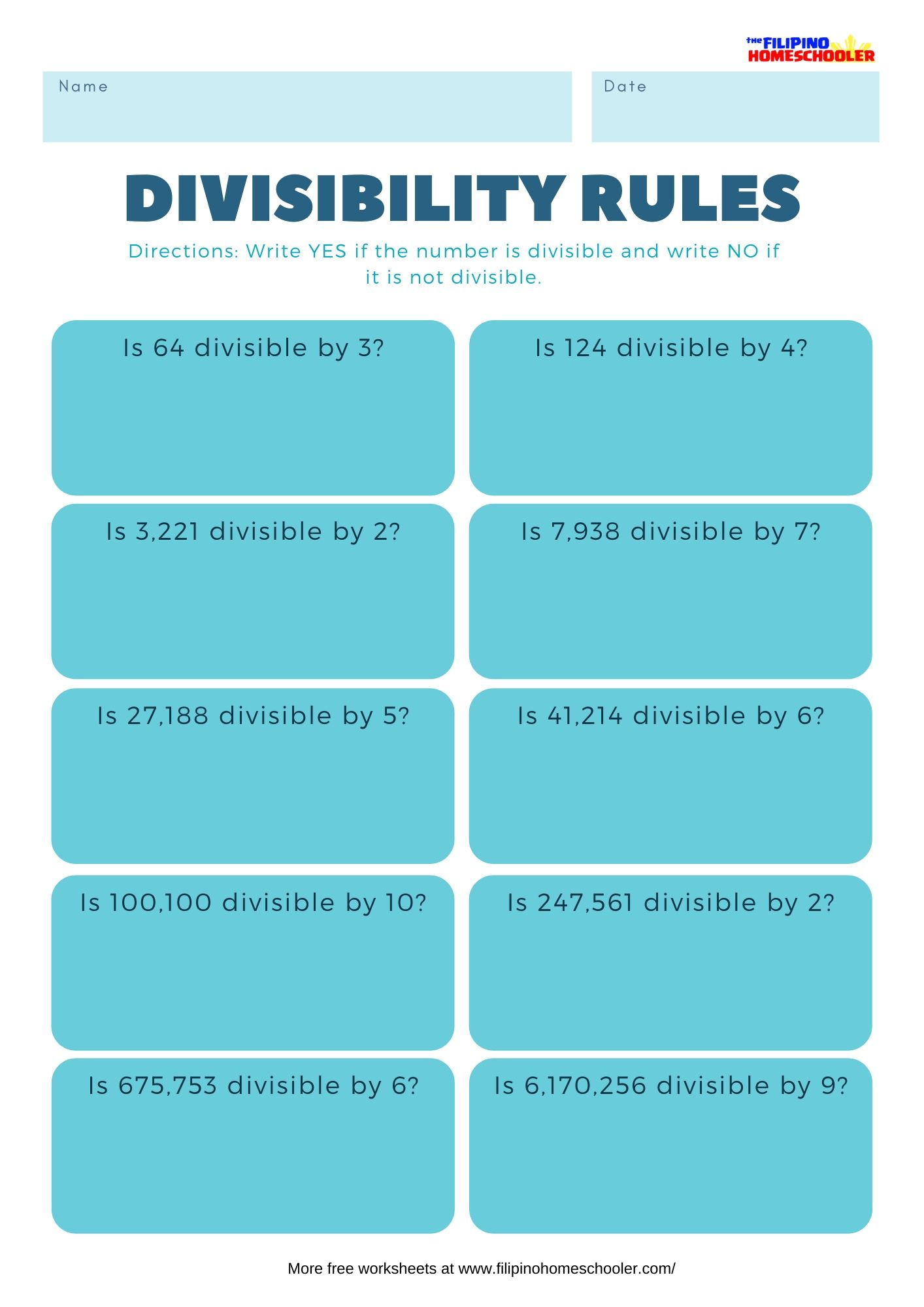Divisibility Rules Worksheets Set 1