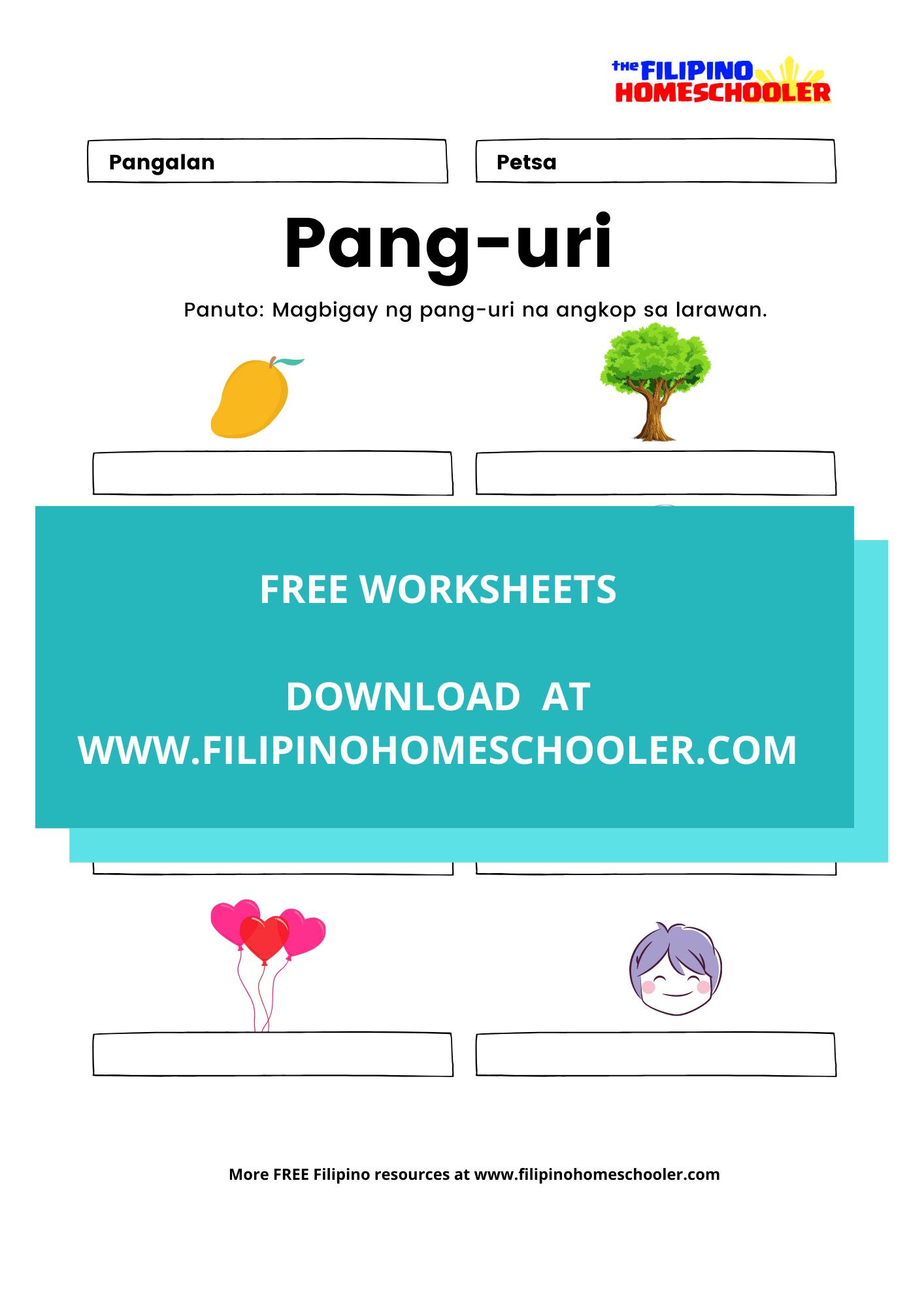 Mga Uri Ng Pang Uri Worksheets