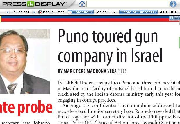 My exclusive story about DILG's Rico E. Puno made it to the front page of The Manila Times last September 12