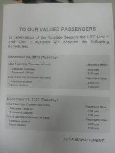 LRT schedule christmas 2013