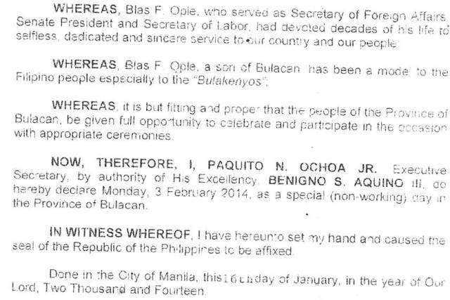 February 3 2015 declared a holiday in Bulacan – Blas Ople Day