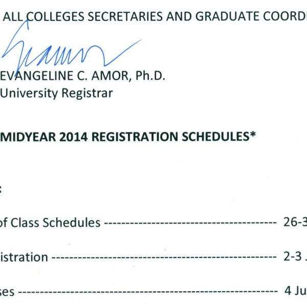 Registration schedule for UP Diliman's midyear 2014 term