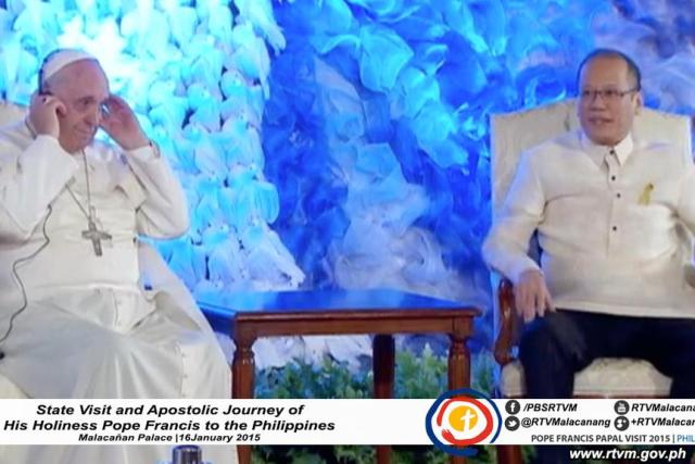 FULL TEXT: Speech of President Aquino during Pope Francis' courtesy call in Malacañang – January 16 2015