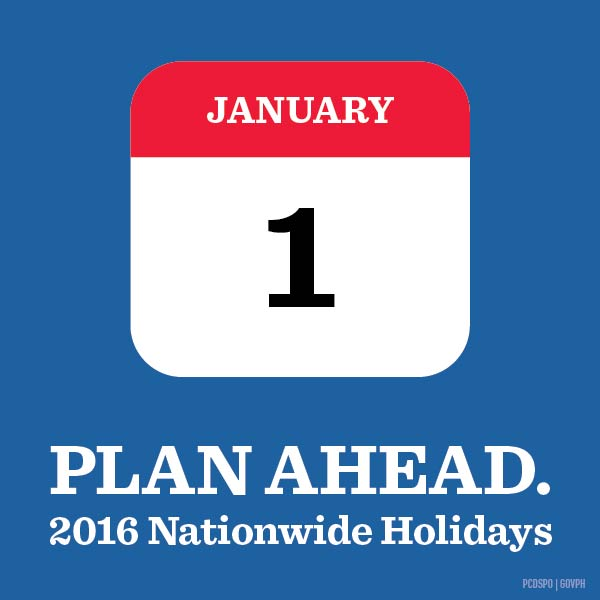 philippine holidays for 2016