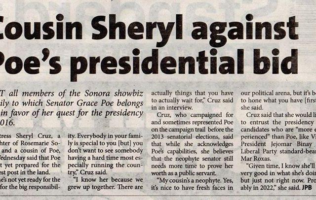 Actress Sheryl Cruz: Cousin Grace Poe's 'not yet ready' to be president