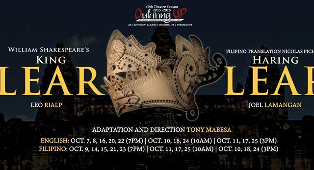 Dulaang UP presents Shakespeare's 'King Lear' this October