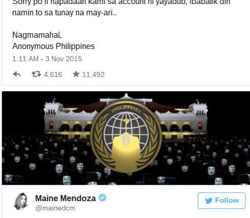 YAYA HACKED   Anonymous Philippines hacks Maine Mendoza's Twitter account
