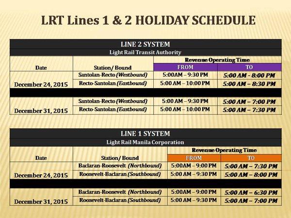 LRT schedule December 2015