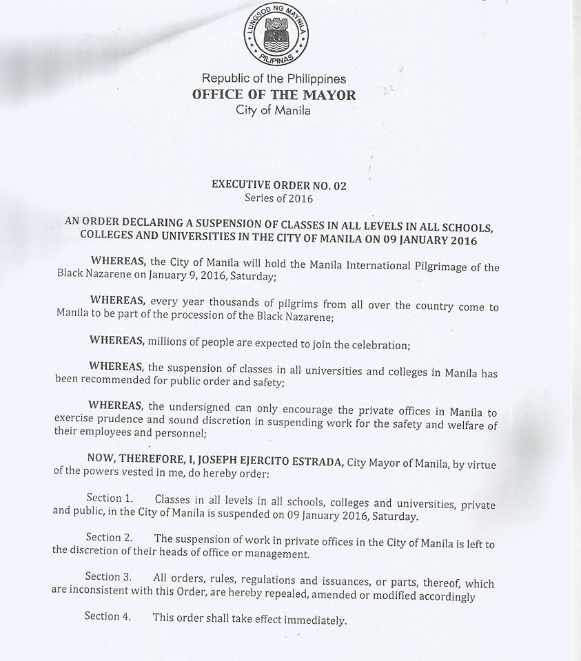 january 9 2016 class suspension manila