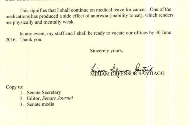 Suffering from anorexia, Miriam to go on leave as Senate term expires