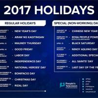 SEVEN LONG WEEKENDS | List of holidays for 2017 according to Malacañang
