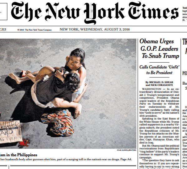New York Times reports on the rise of vigilantism in the Philippines
