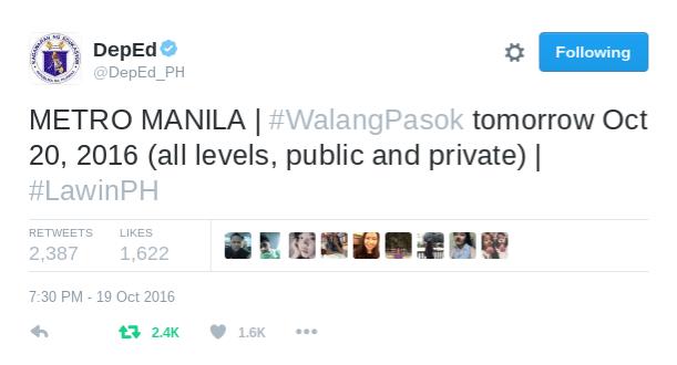 DepEd says sorry for premature #WalangPasok announcement for Metro Manila