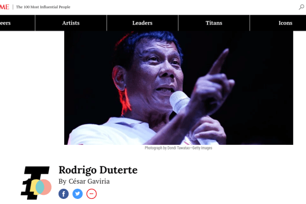 Rodrigo Duterte Time Magazine 100 most influential people