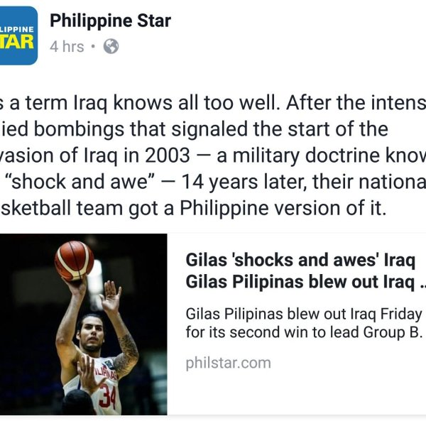 Philippine Star likens Gilas Pilipinas win over Iraq to US 'shock and awe' invasion