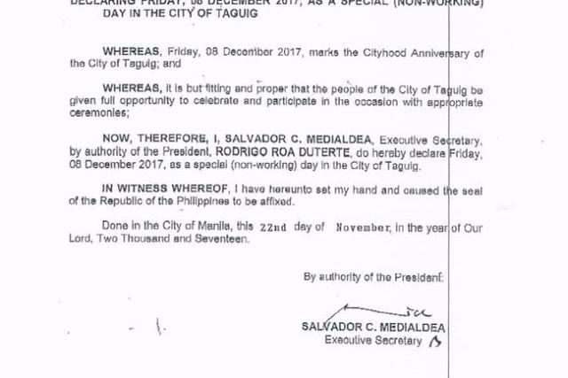 #WalangPasok – December 8 2017 declared holiday in Taguig City