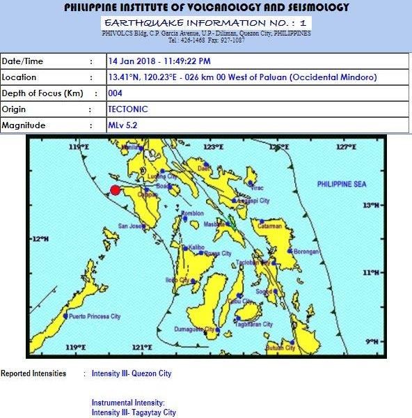 Late night quake jolts Southern Tagalog provinces, Metro Manila