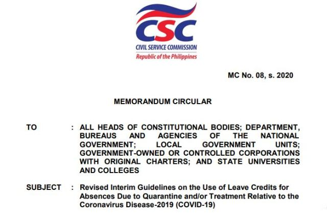 CSC grants 14-day paid leave for gov't workers who get COVID-19