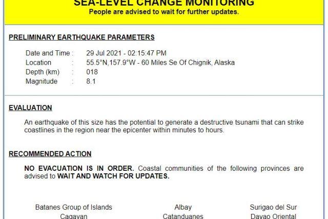Tsunami warning raised across east Philippines after magnitude-8.2 quake in Alaska
