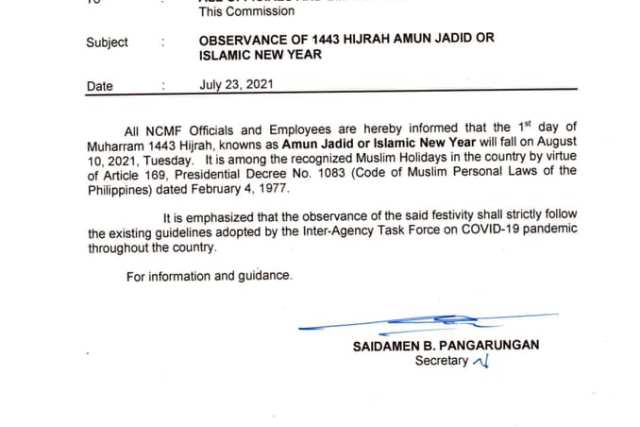 #WalangPasok – August 10 2021 declared holiday in selected Mindanao provinces for Islamic New Year