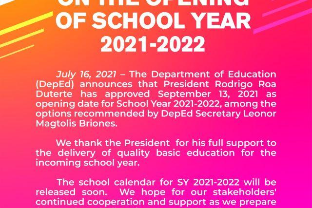DEPED: SY 2021-2022 to begin September 13 in public schools