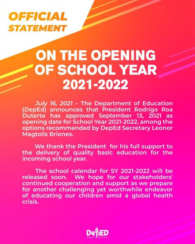 school opening SY 2021-2022
