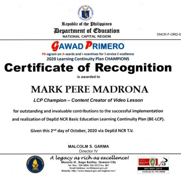 Receiving the Gawad Primero learning continuity plan champion award from DepEd NCR