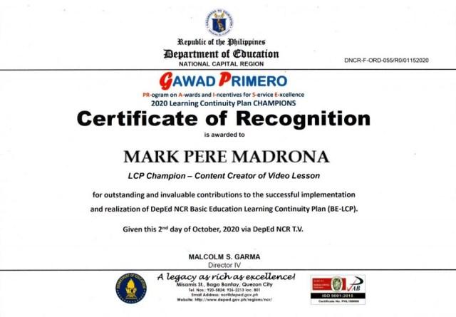 Gawad Primero certificate