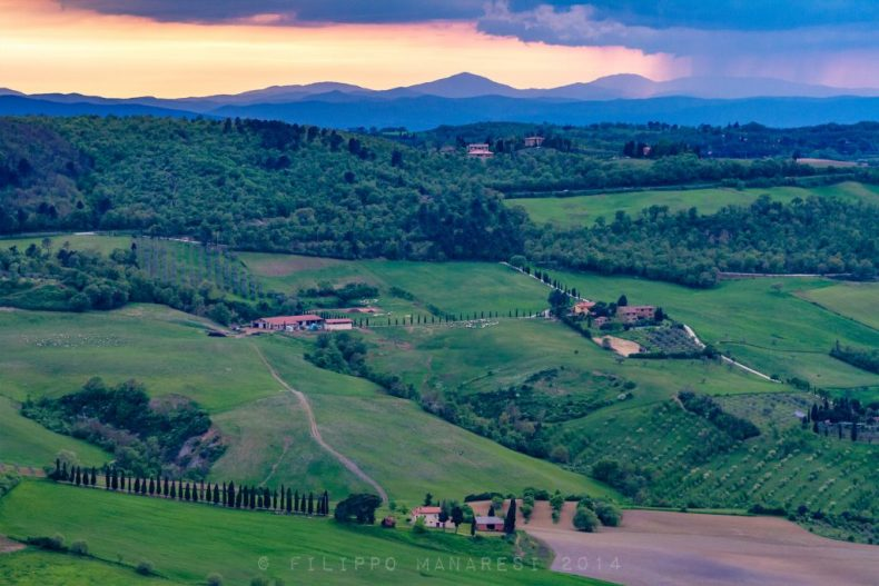 Montepulciano, Toscana, Italy, sunset, sundown, countryside, rural area, clouds, cloudy sky