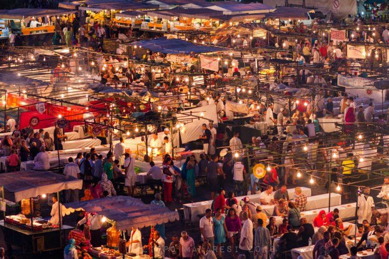 food, market, crowd, Djema el-Fna, Djemaa el-Fnaa, Jamaa el Fna, Jemaa el-Fnaa, Marrakech, Marrakesh, Morocco, people