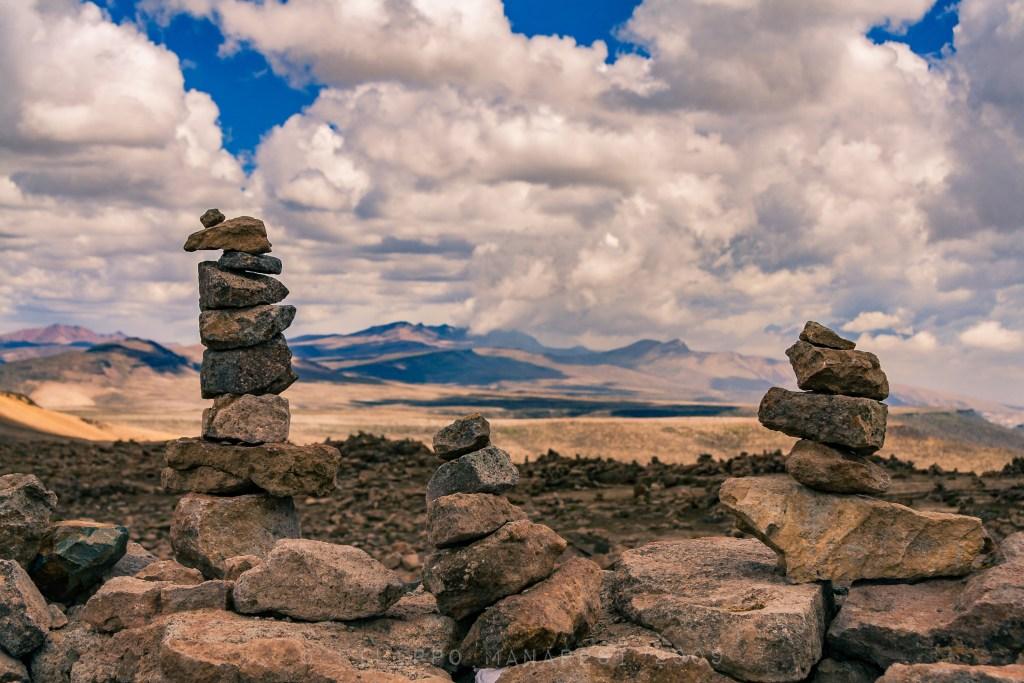 stones, Peru, landscape, clouds, mountains, rock balancing, stone balancing, rock stacking, stone stacking, Andes